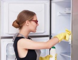 chica lavando refrigerador
