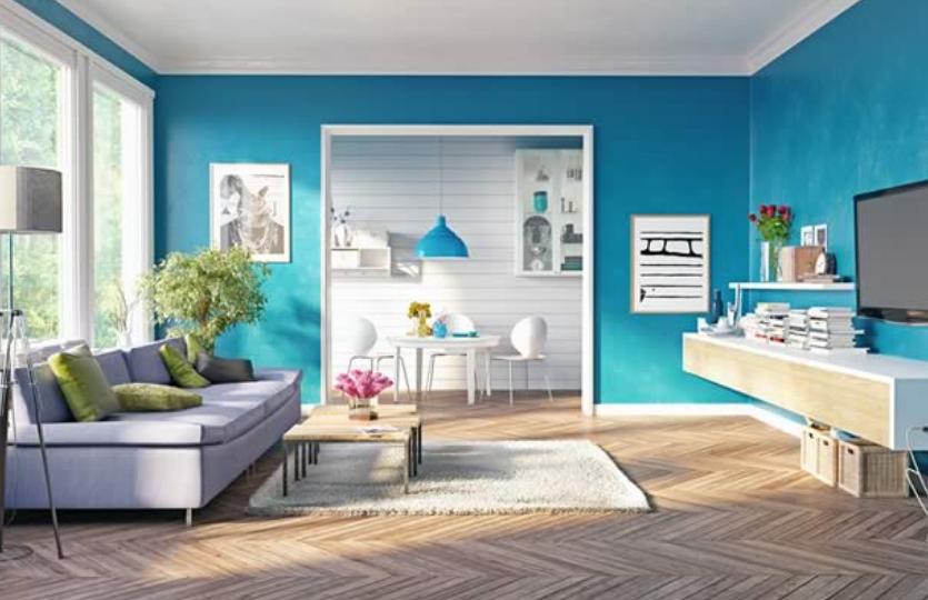 decoracion de sala en azul