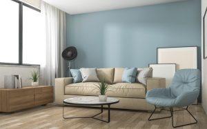 sala color azul con beige