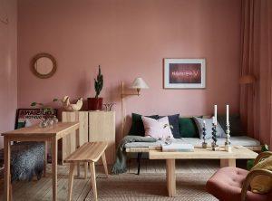 sala color rosa descolorido