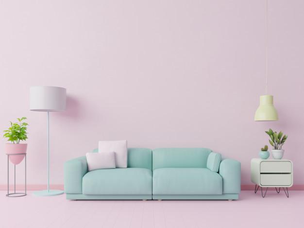 sala color rosa pastel