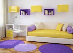 interior color morado con amarillo