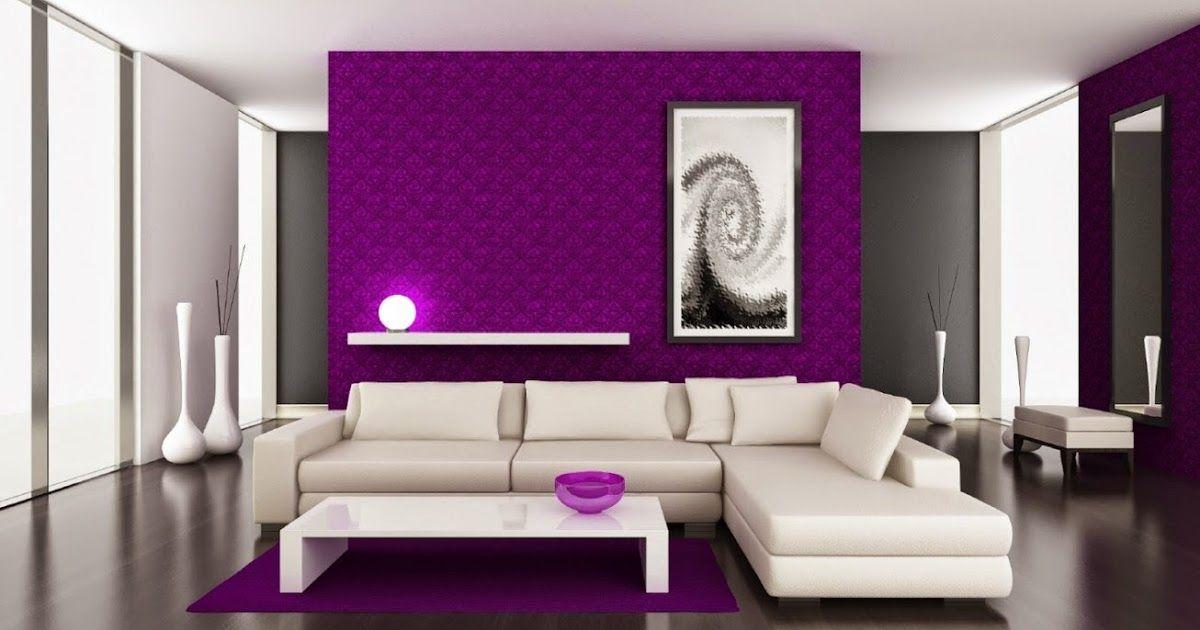 Sala morado con blanco