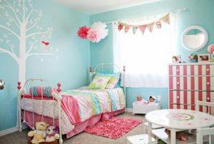 habitación azul para niña