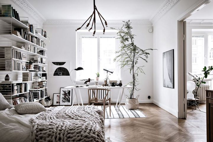 dormitorio con escritorio para home office