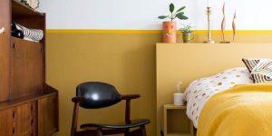 dormitorio color amarillo azafrán