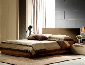 dormitorio moderno con cama color chocolate